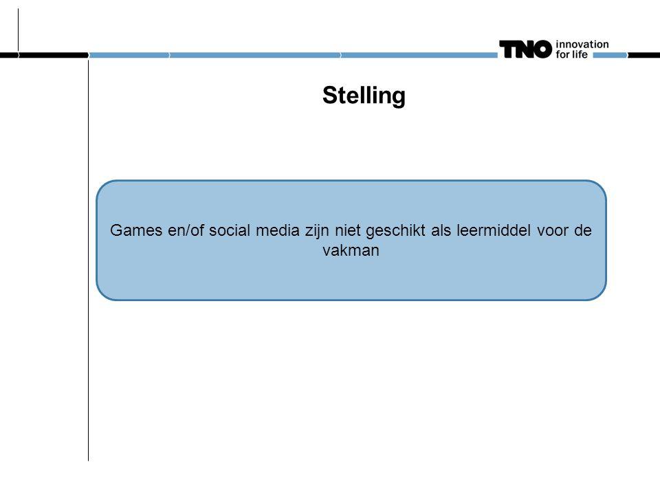 Stelling Games en/of social media zijn niet geschikt als leermiddel voor de vakman