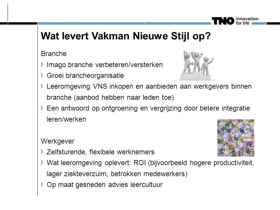 Wat levert Vakman Nieuwe Stijl op? Branche Imago branche verbeteren/versterken Groei brancheorganisatie Leeromgeving VNS inkopen en aanbieden aan werk
