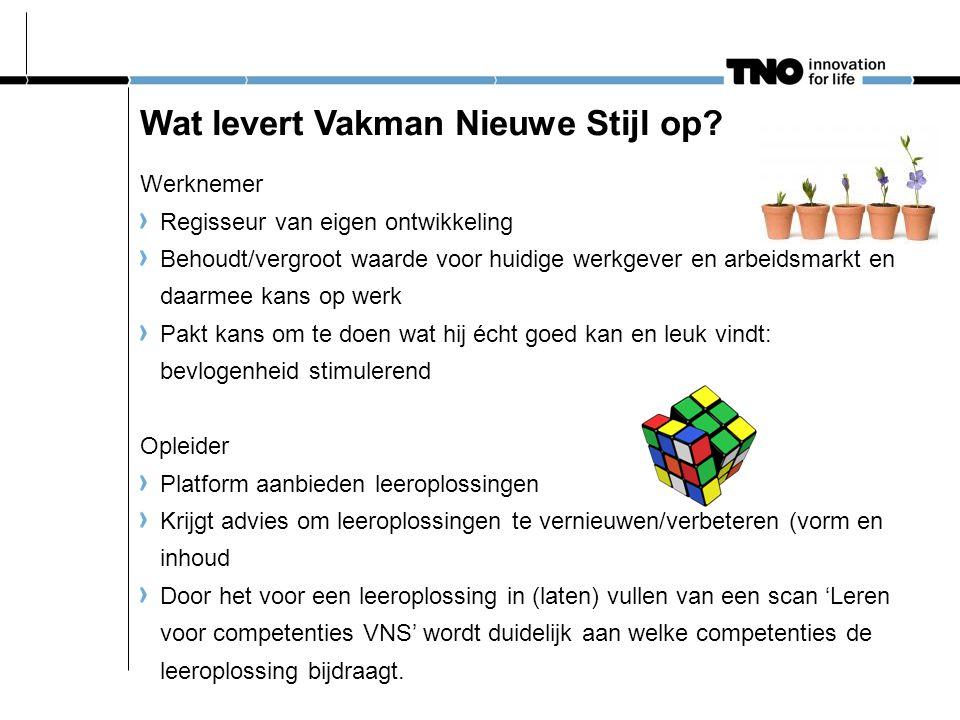 Wat levert Vakman Nieuwe Stijl op? Werknemer Regisseur van eigen ontwikkeling Behoudt/vergroot waarde voor huidige werkgever en arbeidsmarkt en daarme
