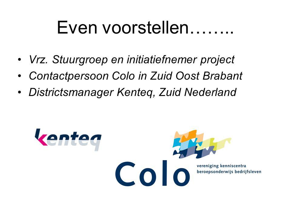 Even voorstellen…….. Vrz. Stuurgroep en initiatiefnemer project Contactpersoon Colo in Zuid Oost Brabant Districtsmanager Kenteq, Zuid Nederland