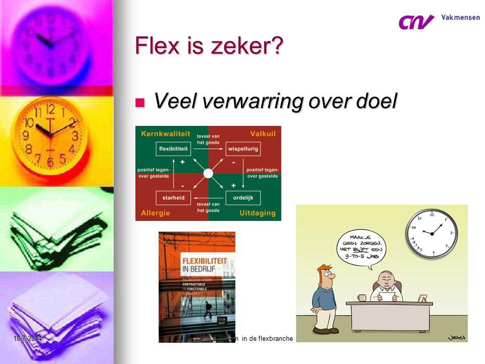 18-7-2014leren en werken in de flexbranche33 Flex is zeker? Veel verwarring over doel Veel verwarring over doel