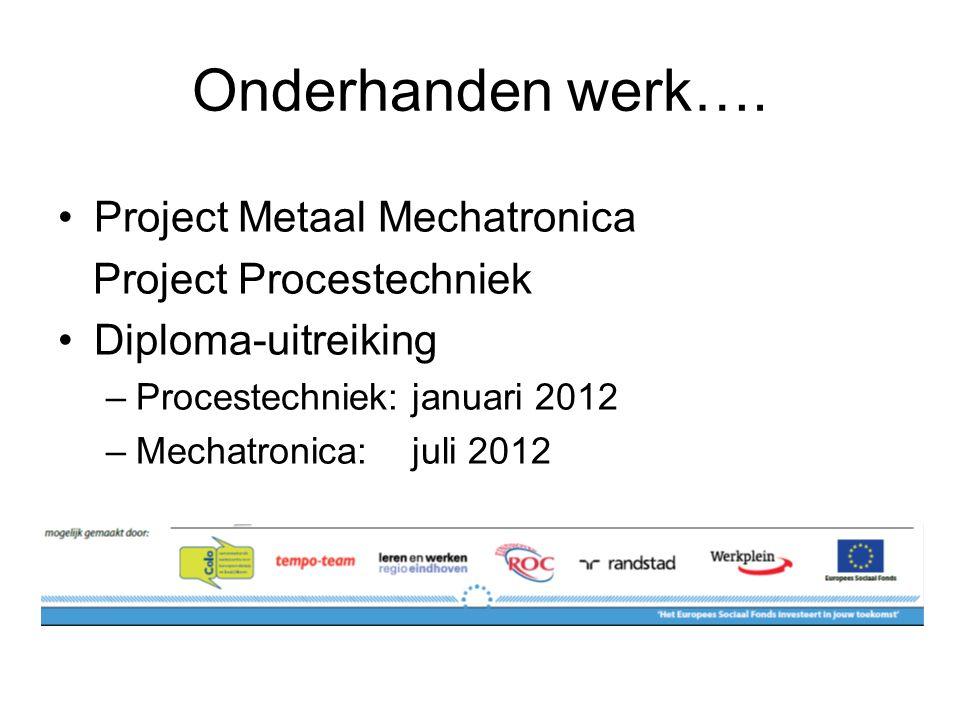 Onderhanden werk…. Project Metaal Mechatronica Project Procestechniek Diploma-uitreiking –Procestechniek: januari 2012 –Mechatronica: juli 2012
