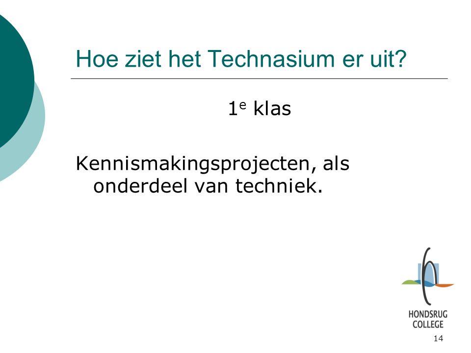 14 Hoe ziet het Technasium er uit? 1 e klas Kennismakingsprojecten, als onderdeel van techniek.