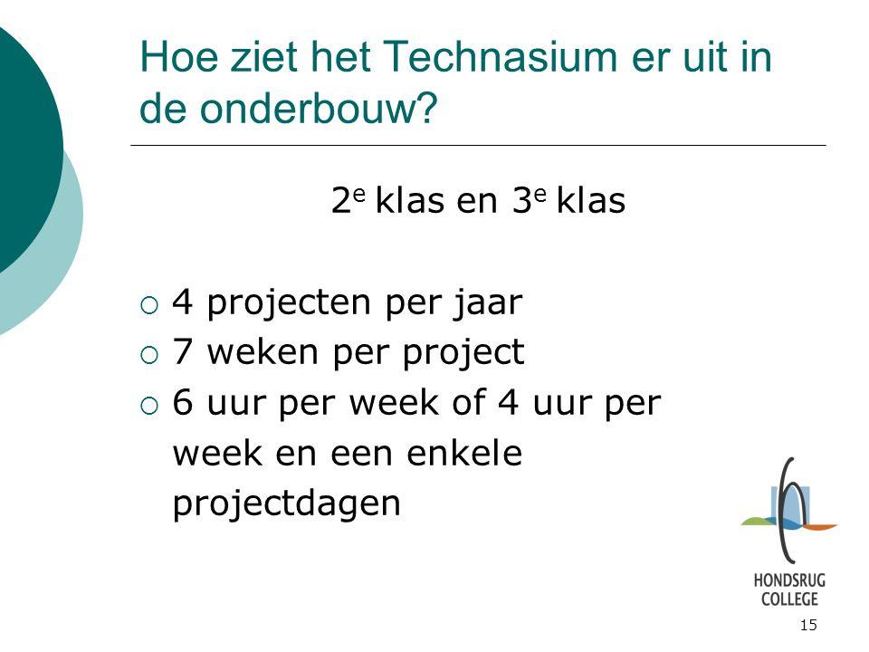 15 Hoe ziet het Technasium er uit in de onderbouw? 2 e klas en 3 e klas  4 projecten per jaar  7 weken per project  6 uur per week of 4 uur per wee