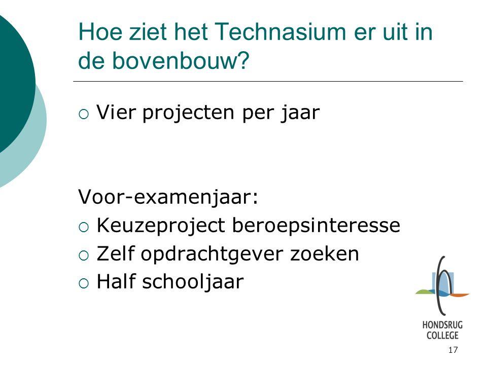 17 Hoe ziet het Technasium er uit in de bovenbouw?  Vier projecten per jaar Voor-examenjaar:  Keuzeproject beroepsinteresse  Zelf opdrachtgever zoe
