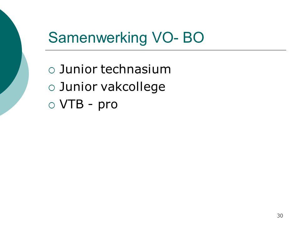 Samenwerking VO- BO  Junior technasium  Junior vakcollege  VTB - pro 30