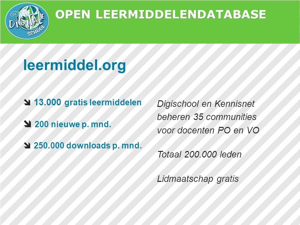 OPEN LEERMIDDELENDATABASE leermiddel.org  13.000 gratis leermiddelen  200 nieuwe p. mnd.  250.000 downloads p. mnd. Digischool en Kennisnet beheren