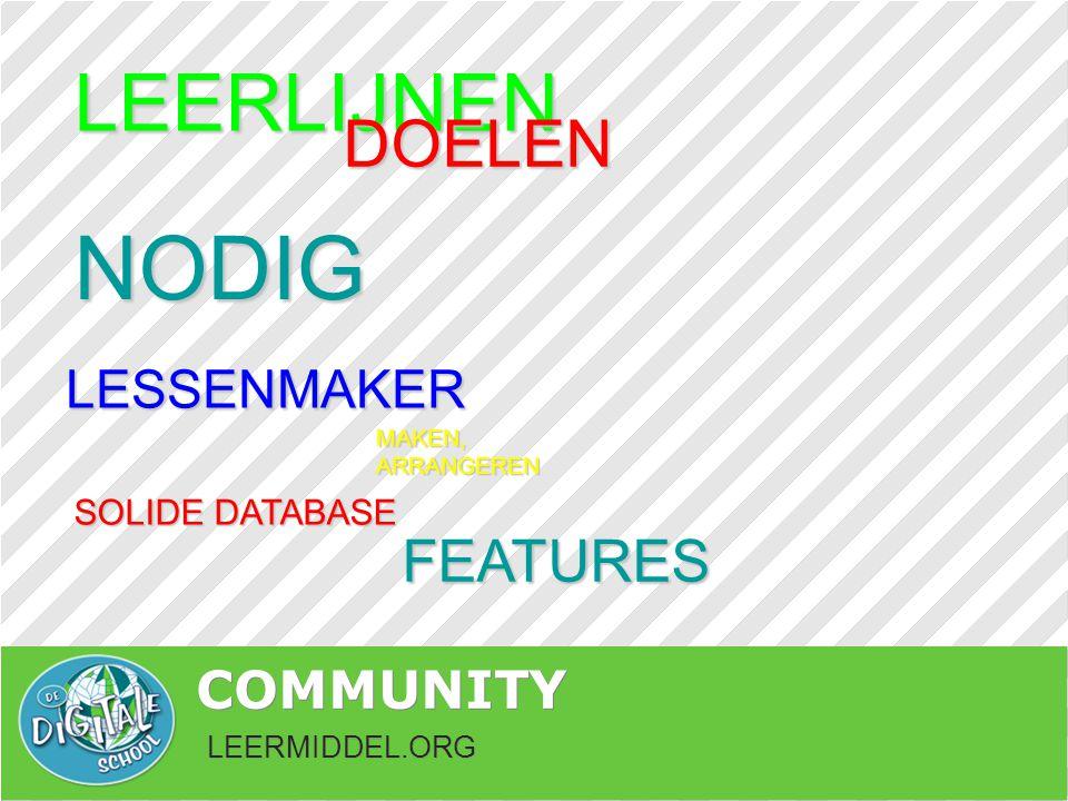 LEERMIDDEL.ORG COMMUNITY NODIG LEERLIJNEN DOELEN MAKEN, ARRANGEREN LESSENMAKER SOLIDE DATABASE FEATURES