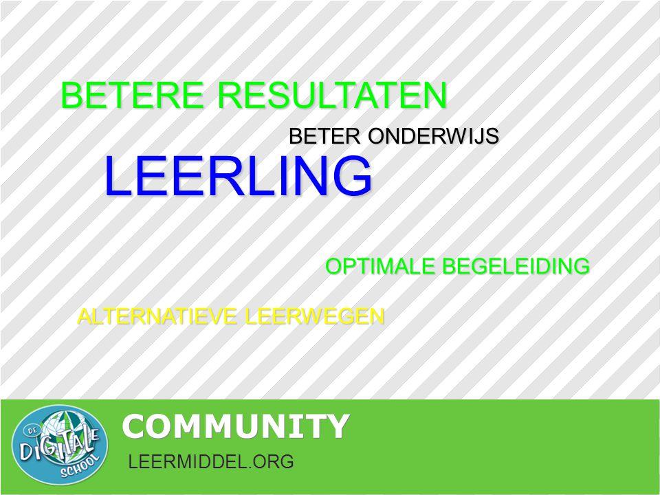 LEERMIDDEL.ORG COMMUNITY LEERLING OPTIMALE BEGELEIDING BETER ONDERWIJS ALTERNATIEVELEERWEGEN ALTERNATIEVE LEERWEGEN BETERE RESULTATEN