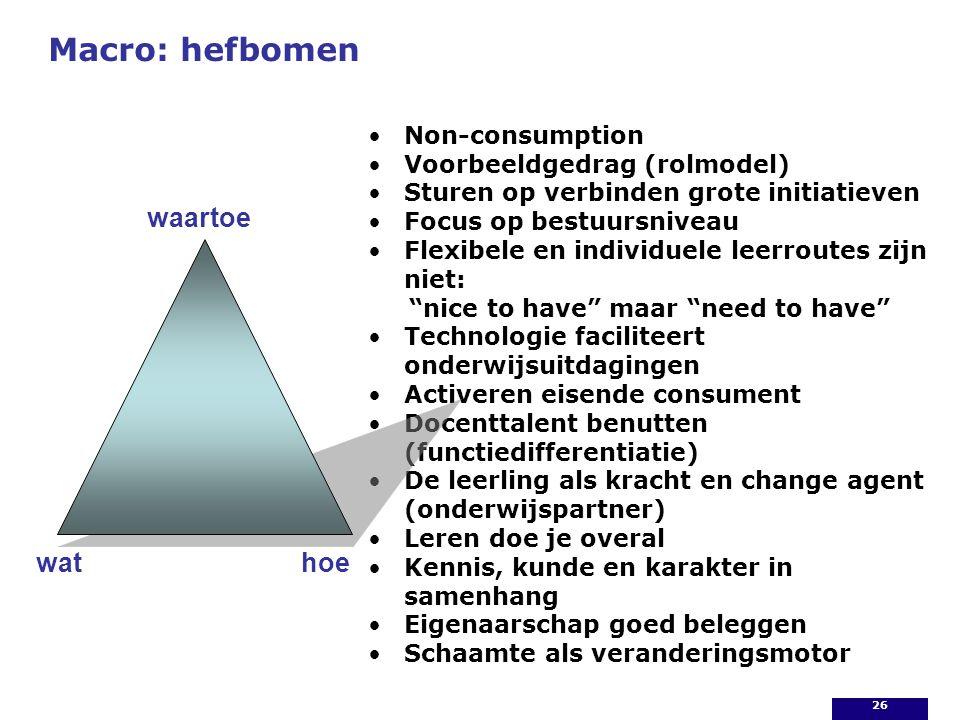 Macro: hefbomen Non-consumption Voorbeeldgedrag (rolmodel) Sturen op verbinden grote initiatieven Focus op bestuursniveau Flexibele en individuele lee