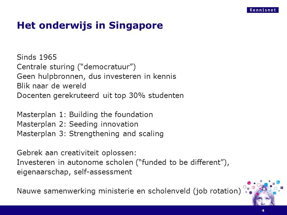 """Het onderwijs in Singapore Sinds 1965 Centrale sturing (""""democratuur"""") Geen hulpbronnen, dus investeren in kennis Blik naar de wereld Docenten gerekru"""