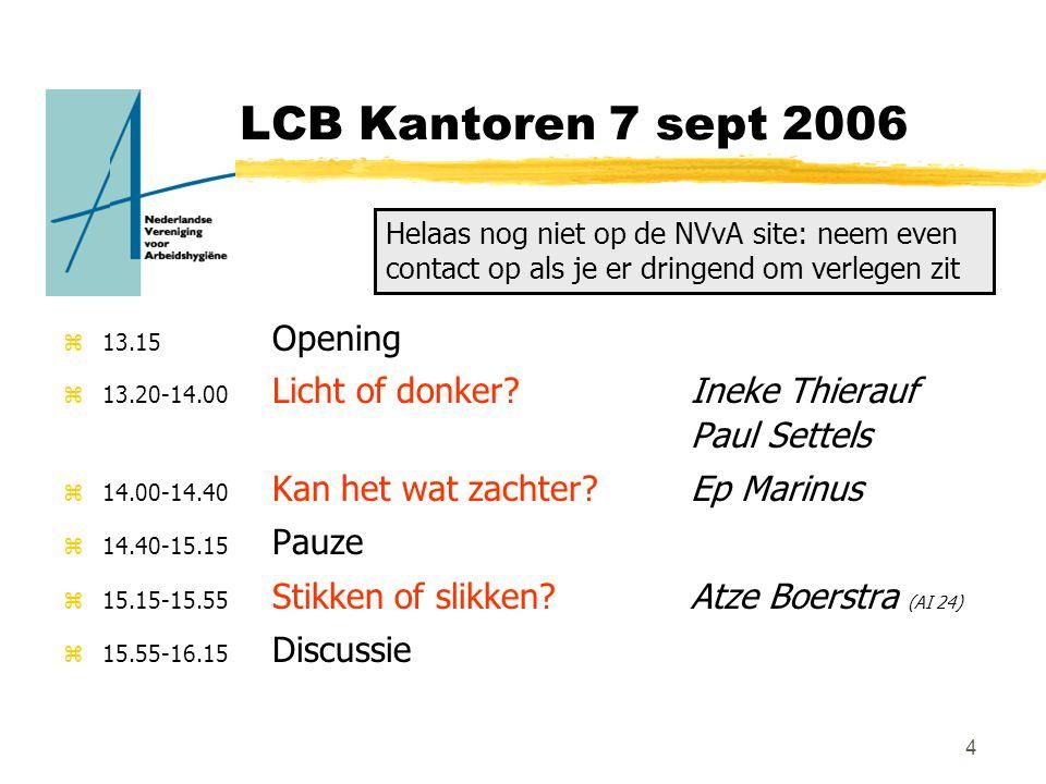 4 LCB Kantoren 7 sept 2006 z13.15 Opening z13.20-14.00 Licht of donker.