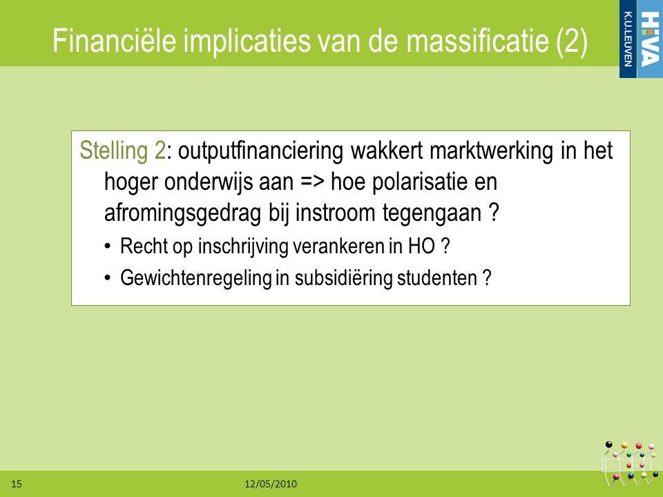 12/05/201015 Financiële implicaties van de massificatie (2) Stelling 2: outputfinanciering wakkert marktwerking in het hoger onderwijs aan => hoe pola