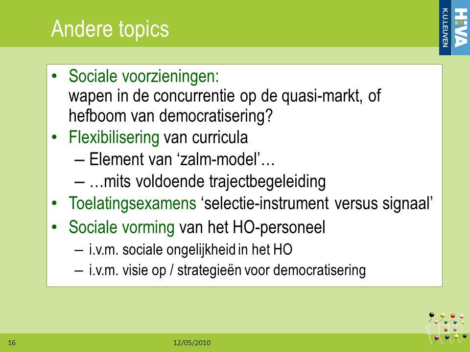 12/05/201016 Andere topics Sociale voorzieningen: wapen in de concurrentie op de quasi-markt, of hefboom van democratisering? Flexibilisering van curr