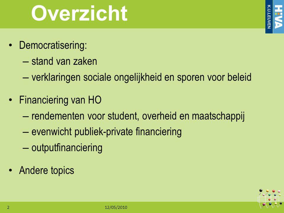 12/05/20102 Overzicht Democratisering: – stand van zaken – verklaringen sociale ongelijkheid en sporen voor beleid Financiering van HO – rendementen v