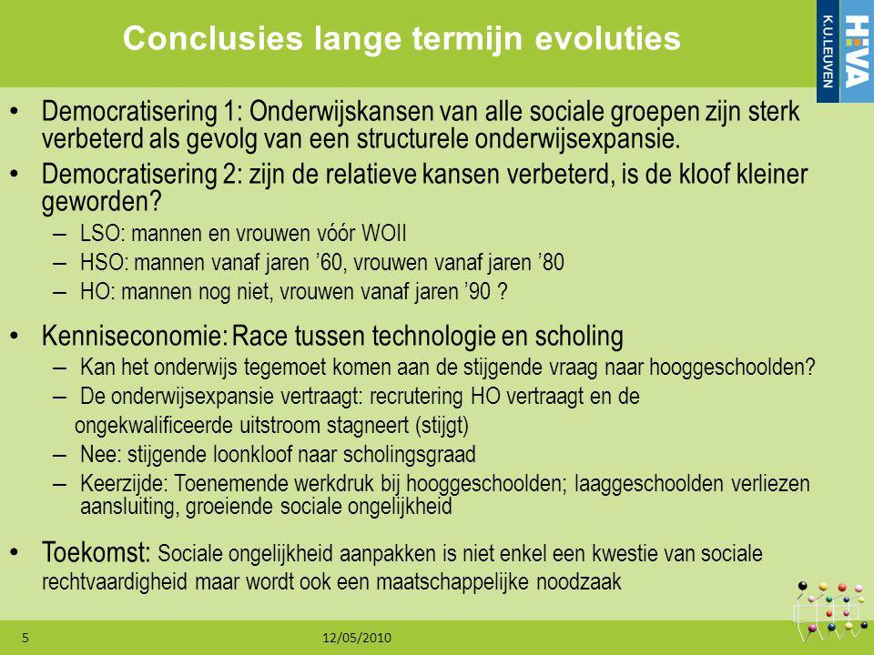 12/05/20105 Conclusies lange termijn evoluties Democratisering 1: Onderwijskansen van alle sociale groepen zijn sterk verbeterd als gevolg van een str