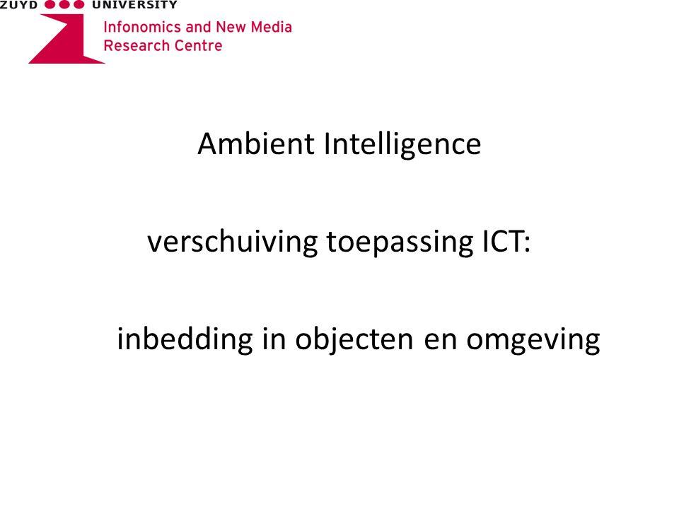 Ambient Intelligence verschuiving toepassing ICT: inbedding in objecten en omgeving