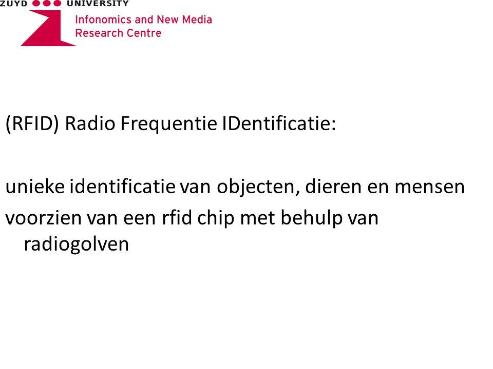 (RFID) Radio Frequentie IDentificatie: unieke identificatie van objecten, dieren en mensen voorzien van een rfid chip met behulp van radiogolven