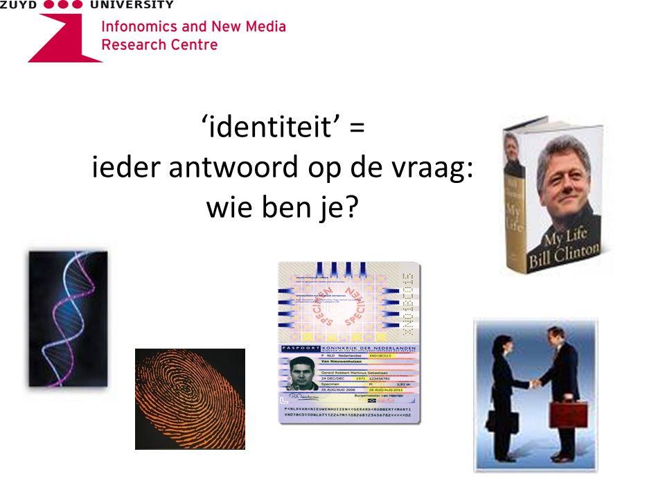 'identiteit' = ieder antwoord op de vraag: wie ben je
