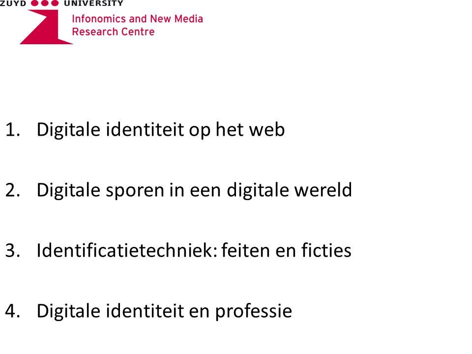 1.Digitale identiteit op het web 2.Digitale sporen in een digitale wereld 3.Identificatietechniek: feiten en ficties 4.Digitale identiteit en professie