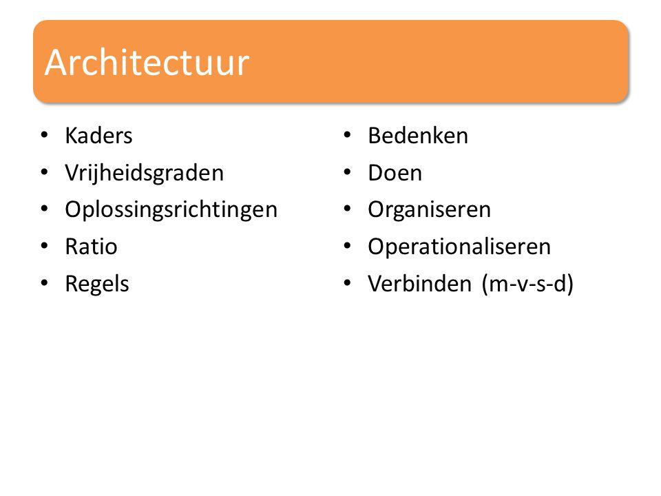 Architectuur Kaders Vrijheidsgraden Oplossingsrichtingen Ratio Regels Bedenken Doen Organiseren Operationaliseren Verbinden (m-v-s-d)