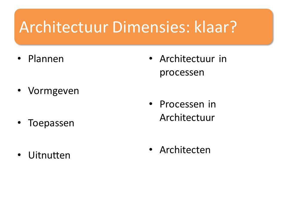 Architectuur Dimensies: klaar? Plannen Vormgeven Toepassen Uitnutten Architectuur in processen Processen in Architectuur Architecten