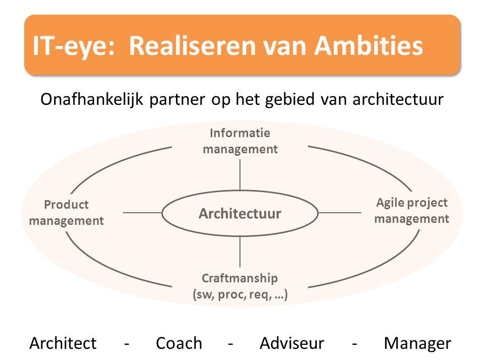 IT-eye: Realiseren van Ambities Onafhankelijk partner op het gebied van architectuur Architect - Coach - Adviseur - Manager Product management Informa