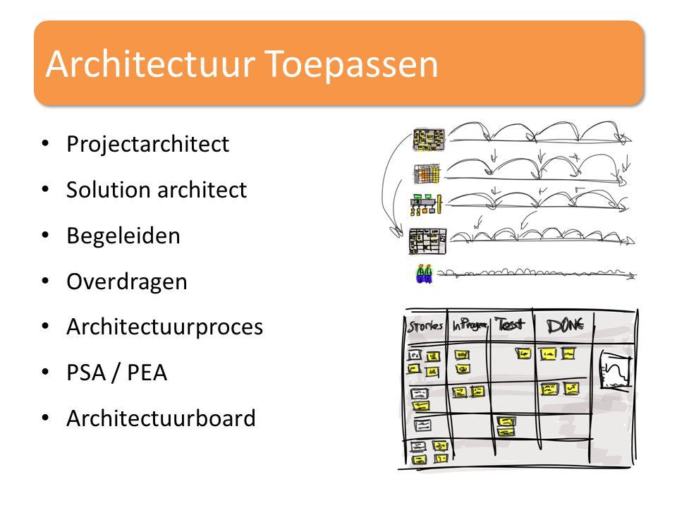 Architectuur Toepassen Projectarchitect Solution architect Begeleiden Overdragen Architectuurproces PSA / PEA Architectuurboard