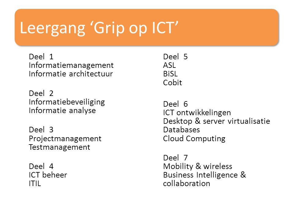 Leergang 'Grip op ICT' Deel 1 Informatiemanagement Informatie architectuur Deel 2 Informatiebeveiliging Informatie analyse Deel 3 Projectmanagement Te