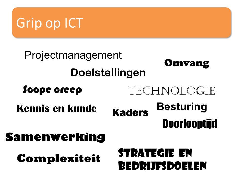 Grip op ICT Projectmanagement Scope creep Doelstellingen Samenwerking Kaders Besturing Technologie Kennis en kunde Omvang Doorlooptijd Strategie en Be