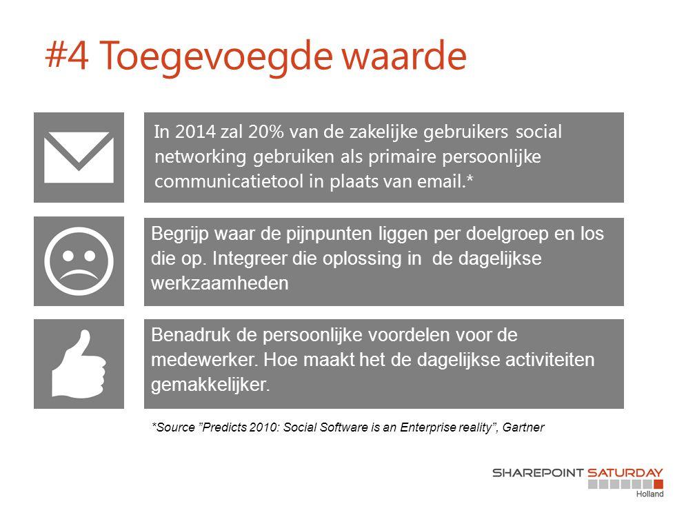 #4 Toegevoegde waarde In 2014 zal 20% van de zakelijke gebruikers social networking gebruiken als primaire persoonlijke communicatietool in plaats van