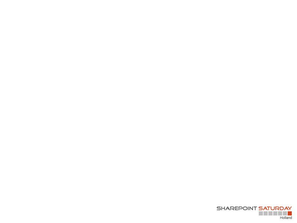 #5 technologie is niet het belangrijkste (maar toch…) Informatie architectuur SearchUX Central Admin settings Tool mapping Metadata Columns Content types Usability Web parts Features Integratie Employee centric social Intranet Search social Index tags Integreren met content search Configuratie Deployment naar webapps Schaalbaar Performance Functionaliteit mappen met tooling