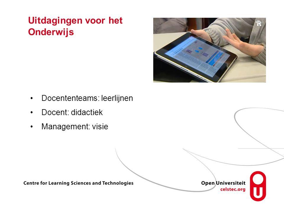 Uitdagingen voor het Onderwijs Docententeams: leerlijnen Docent: didactiek Management: visie