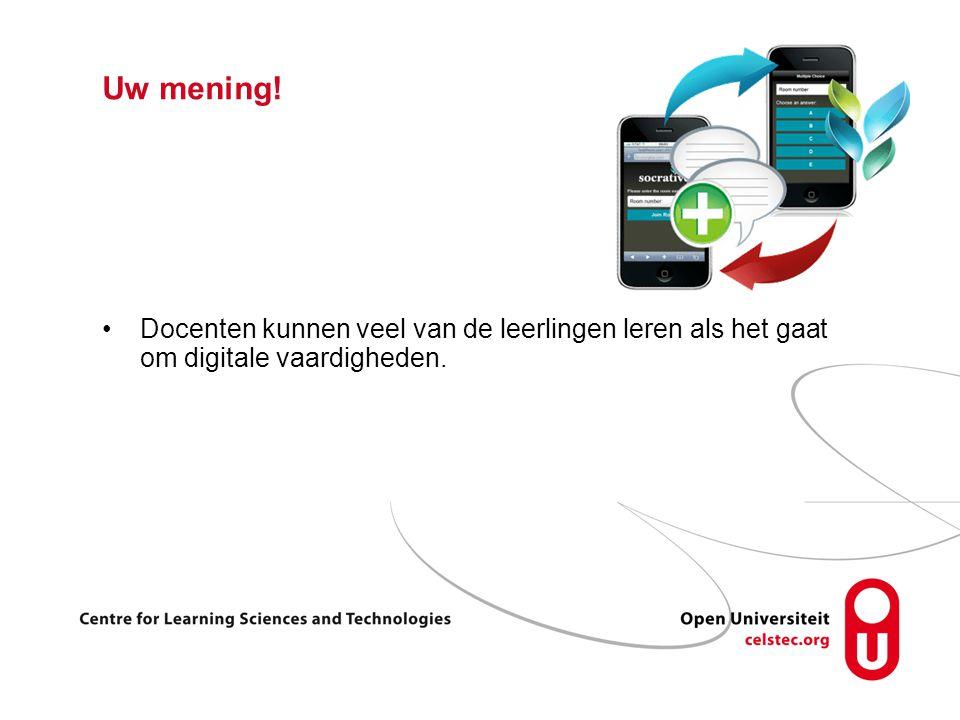 Uw mening! Docenten kunnen veel van de leerlingen leren als het gaat om digitale vaardigheden.
