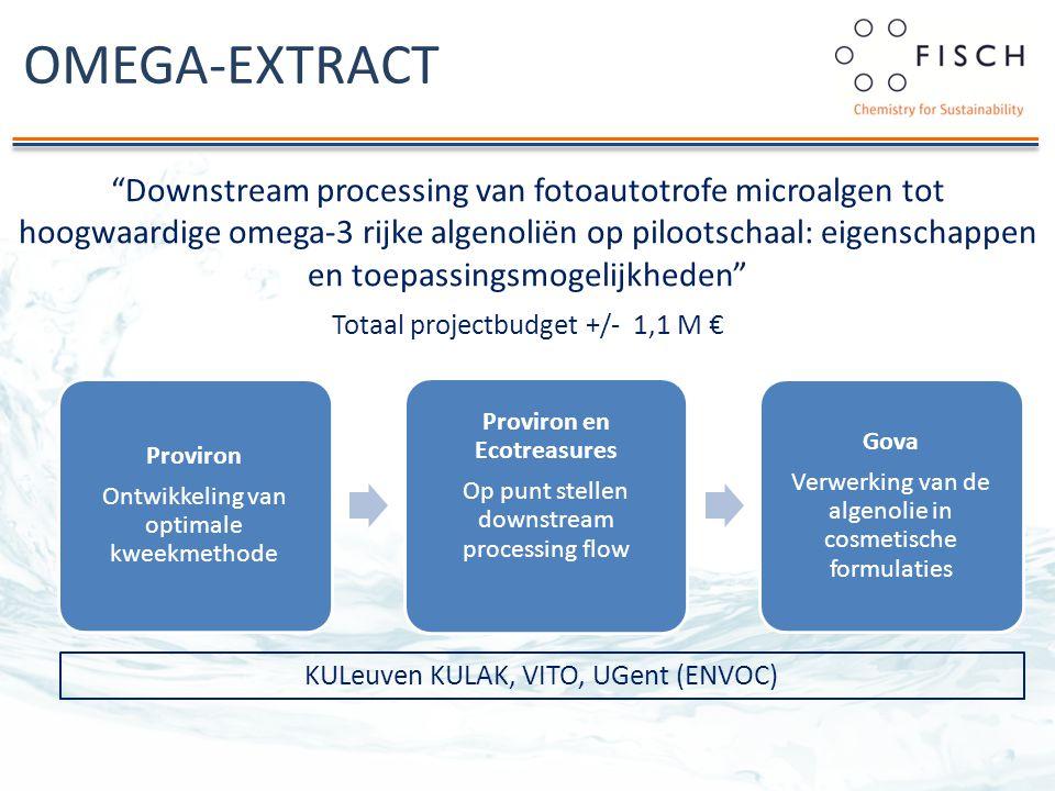 OMEGA-EXTRACT Downstream processing van fotoautotrofe microalgen tot hoogwaardige omega-3 rijke algenoliën op pilootschaal: eigenschappen en toepassingsmogelijkheden Totaal projectbudget +/- 1,1 M € Proviron Ontwikkeling van optimale kweekmethode Proviron en Ecotreasures Op punt stellen downstream processing flow Gova Verwerking van de algenolie in cosmetische formulaties KULeuven KULAK, VITO, UGent (ENVOC)