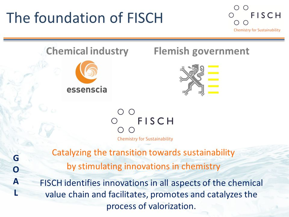 The foundation of FISCH Chemical industryFlemish government Catalyzing the transition towards sustainability by stimulating innovations in chemistry FISCH identifies innovations in all aspects of the chemical value chain and facilitates, promotes and catalyzes the process of valorization.