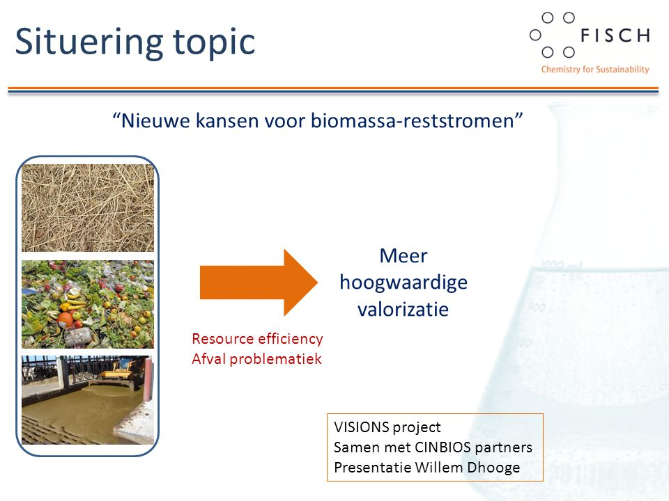 Nieuwe kansen voor biomassa-reststromen Situering topic Meer hoogwaardige valorizatie Resource efficiency Afval problematiek VISIONS project Samen met CINBIOS partners Presentatie Willem Dhooge