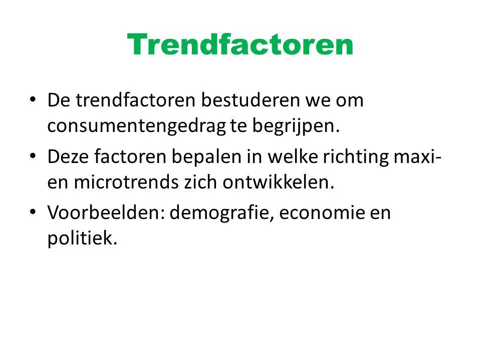 Trendfactoren De trendfactoren bestuderen we om consumentengedrag te begrijpen. Deze factoren bepalen in welke richting maxi- en microtrends zich ontw