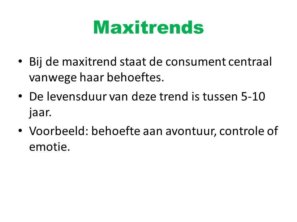 Maxitrends Bij de maxitrend staat de consument centraal vanwege haar behoeftes. De levensduur van deze trend is tussen 5-10 jaar. Voorbeeld: behoefte