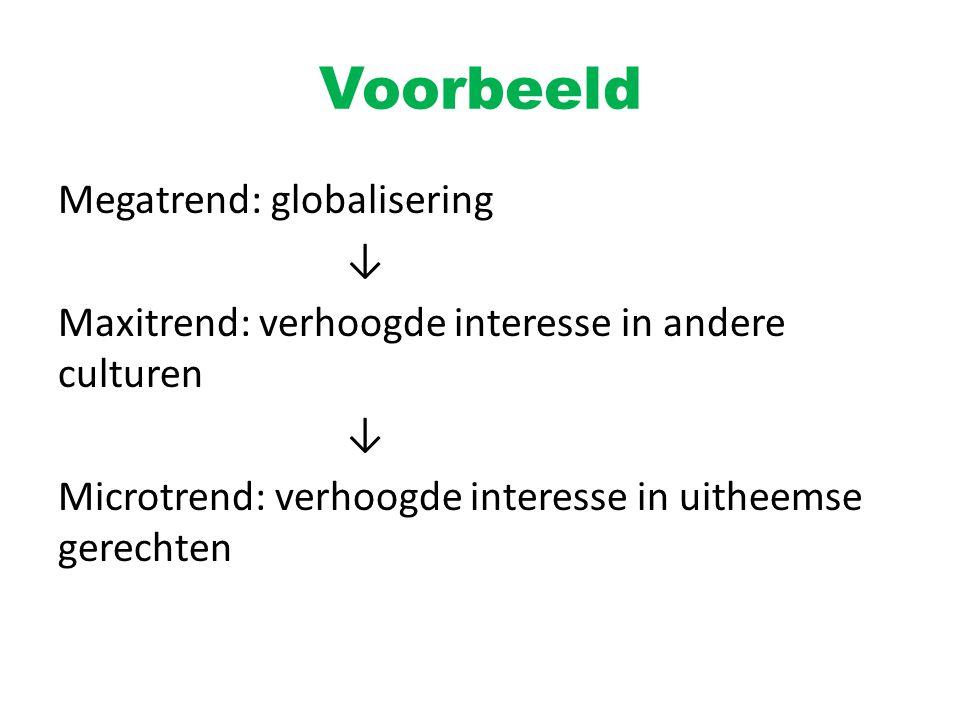 Voorbeeld Megatrend: globalisering ↓ Maxitrend: verhoogde interesse in andere culturen ↓ Microtrend: verhoogde interesse in uitheemse gerechten