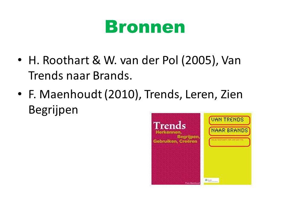 Bronnen H. Roothart & W. van der Pol (2005), Van Trends naar Brands. F. Maenhoudt (2010), Trends, Leren, Zien Begrijpen
