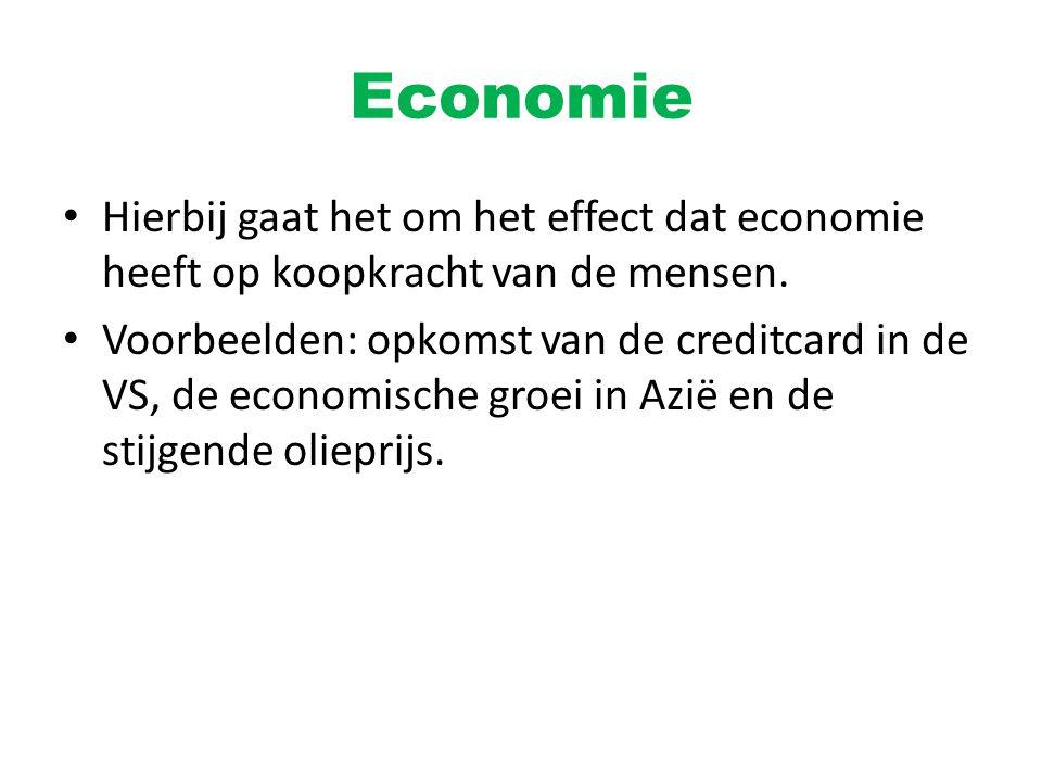 Economie Hierbij gaat het om het effect dat economie heeft op koopkracht van de mensen. Voorbeelden: opkomst van de creditcard in de VS, de economisch