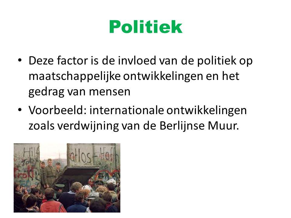 Politiek Deze factor is de invloed van de politiek op maatschappelijke ontwikkelingen en het gedrag van mensen Voorbeeld: internationale ontwikkelinge