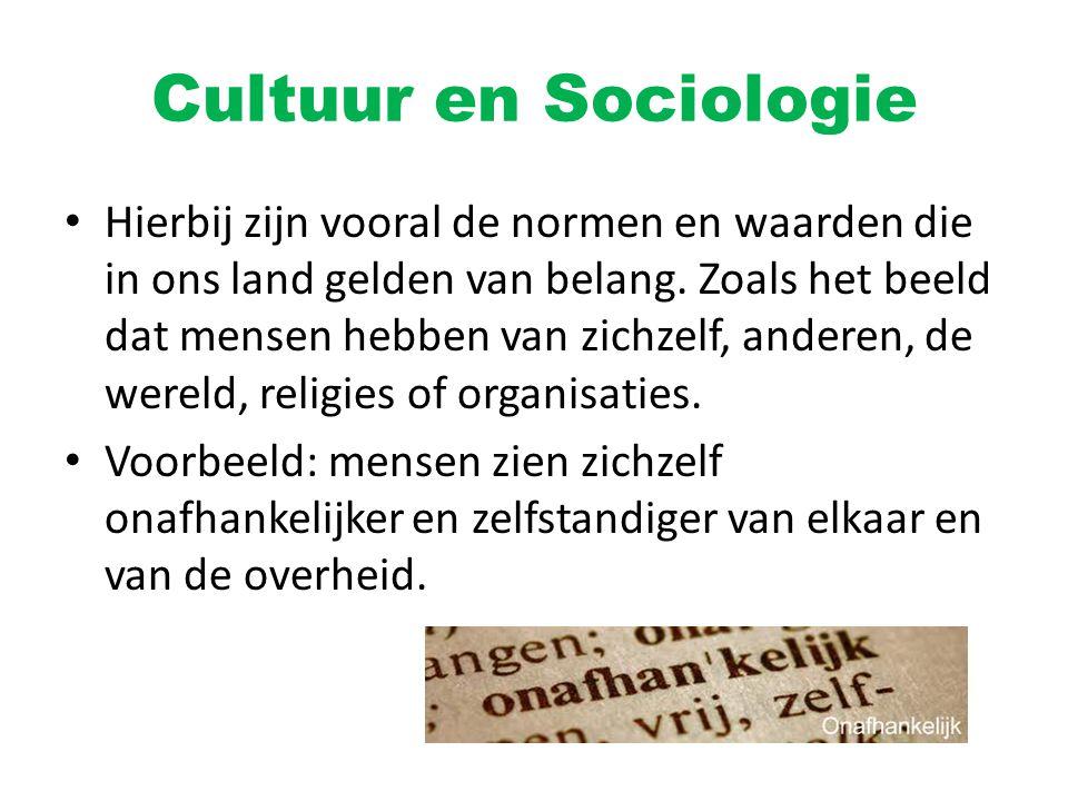 Cultuur en Sociologie Hierbij zijn vooral de normen en waarden die in ons land gelden van belang. Zoals het beeld dat mensen hebben van zichzelf, ande