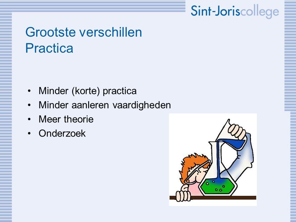 Grootste verschillen Practica Minder (korte) practica Minder aanleren vaardigheden Meer theorie Onderzoek