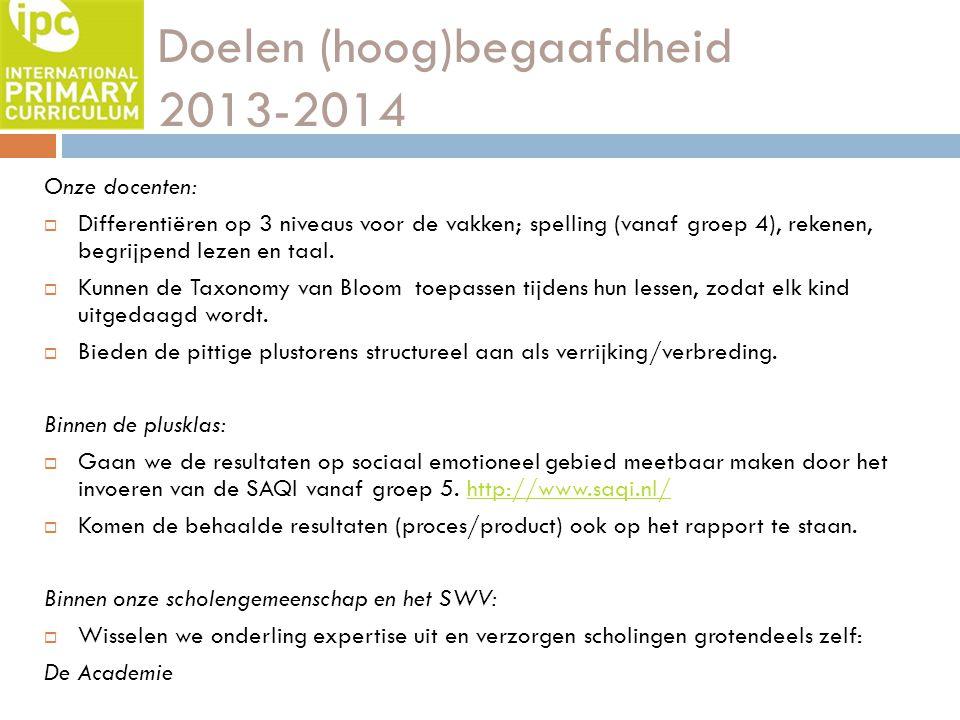Doelen (hoog)begaafdheid 2013-2014 Onze docenten:  Differentiëren op 3 niveaus voor de vakken; spelling (vanaf groep 4), rekenen, begrijpend lezen en