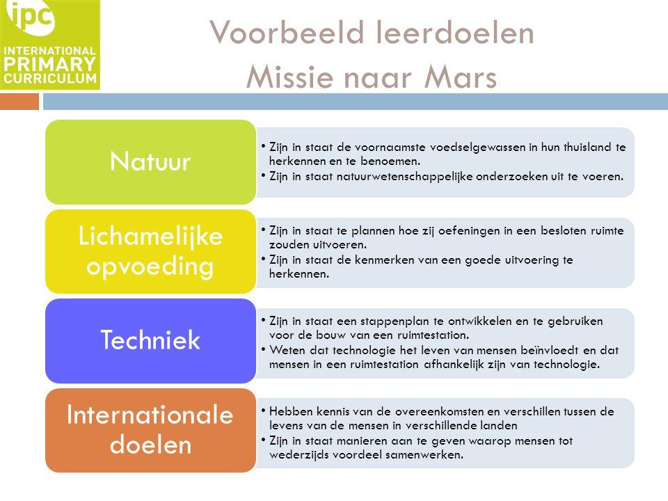 Voorbeeld leerdoelen Missie naar Mars Zijn in staat de voornaamste voedselgewassen in hun thuisland te herkennen en te benoemen. Zijn in staat natuurw