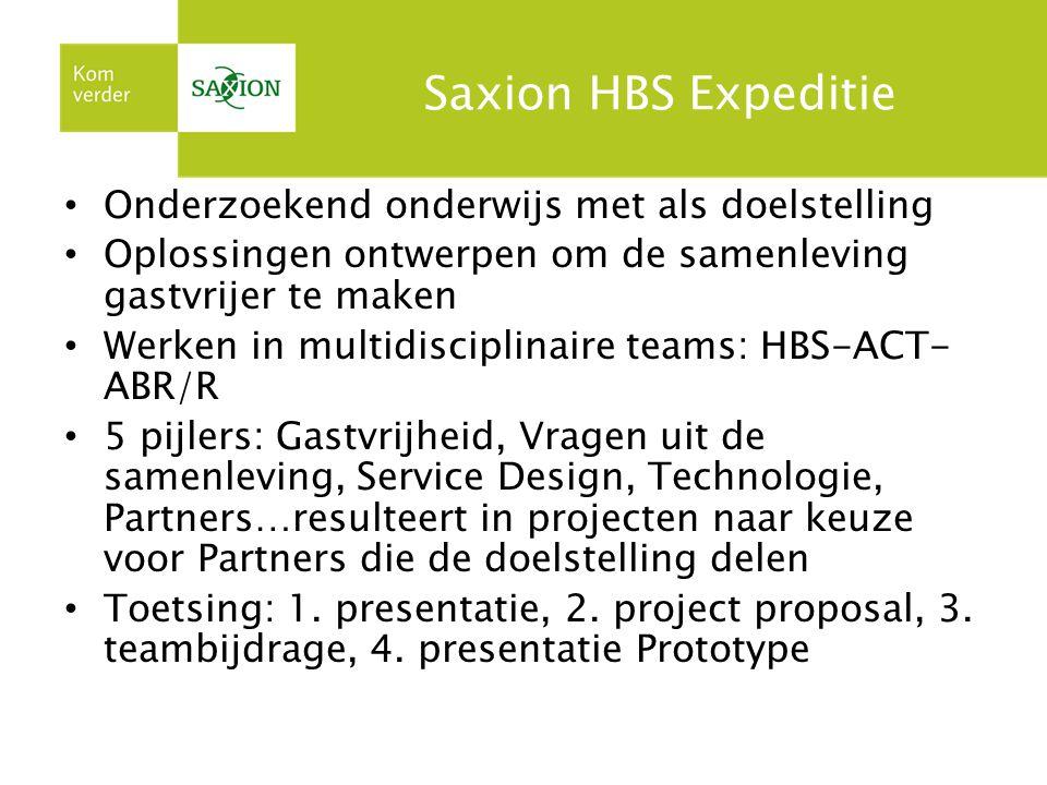 Saxion HBS Expeditie Onderzoekend onderwijs met als doelstelling Oplossingen ontwerpen om de samenleving gastvrijer te maken Werken in multidisciplina