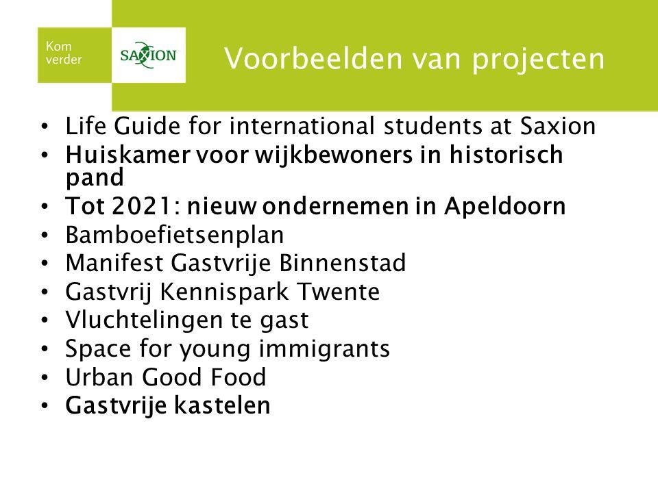 Voorbeelden van projecten Life Guide for international students at Saxion Huiskamer voor wijkbewoners in historisch pand Tot 2021: nieuw ondernemen in
