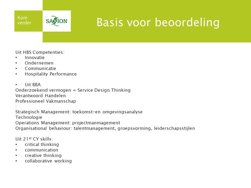 Basis voor beoordeling Uit HBS Competenties: Innovatie Ondernemen Communicatie Hospitality Performance Uit BBA Onderzoekend vermogen = Service Design